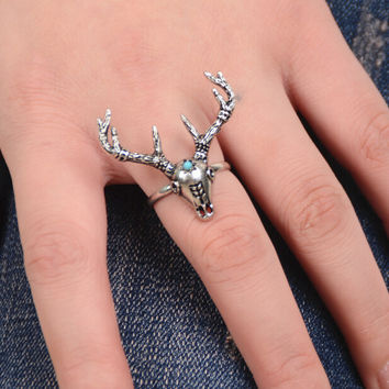Retro Deer Head Ring Tail Rings Gift 170