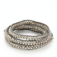 Grey Crystal & Silver Nugget Wrap Bracelet by Chan Luu on Gilt