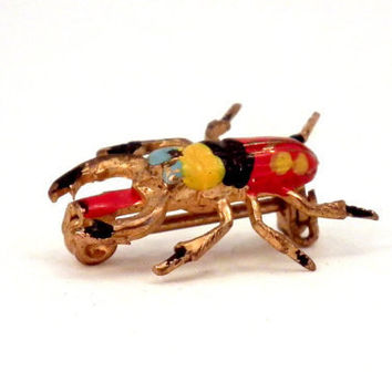 Vintage Jewelry Beetle Bug Scarab Insect Pin Enamel Brass Lapel Brooch