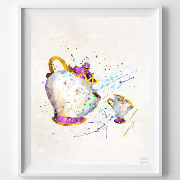 Beauty and the Beast Print, Mrs Potts and Chip, Watercolor Art, Disney Poster, Nursery Posters, Artwork, Home Decor, Halloween Decor