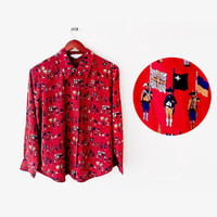 70's Burgundy Red Wigwag Soldier pattern printed preppy Blouse (L) Hipster - Superb Fashion style
