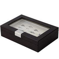 Tech Swiss TSRB620ESSBRN Engravable Ring Cufflink Box Storage Wood Espresso Finish Glass Window
