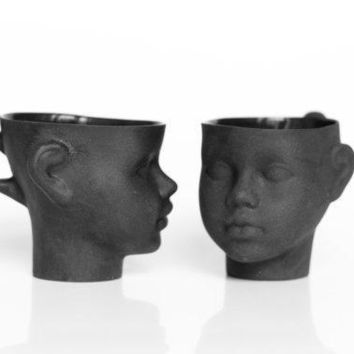 Porcelain Doll Head Cups In Black   Whimsical Set Of Black Ceramic Artisan Mugs For Coffee Or Tea