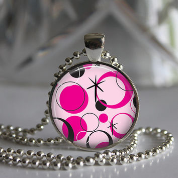 Pink Polk a dots  Round Glass Pendant Necklace