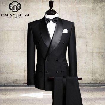 (Jacket+Pants+Tie) Double-Breasted Shawl Satin Lapel Groom Tuxedos Black