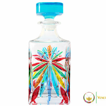 Murano Crystal Glass Decanter - Rainbow Design