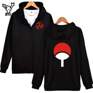 BTS Naruto Classic Japanese Cartoon Hooded Sweatshirt Men Black Anime Thick Winter Hoodie Men Naruto Uchiha Syaringan Clothes