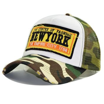 Summer Cap Mesh Trucker Hat for Men and Women Camouflage NEW YORK Embroidered Baseball Cap Snapbacks