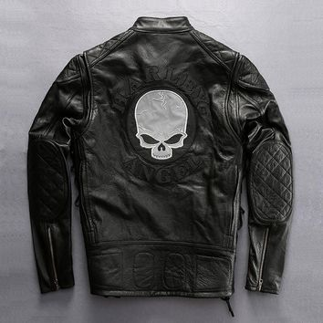 mens Harley fashion classic motorcycle rider cow leather clothing male skull genuine cattle leather jacket