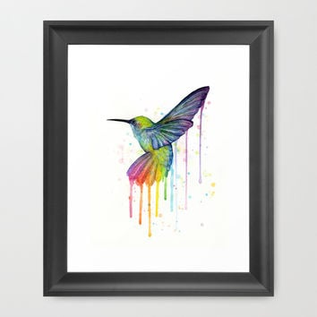 Hummingbird Rainbow Watercolor Framed Art Print by Olechka