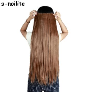 S-noilite Hair Extensions Black Brown Blonde Natural Straight 58-76cm Long High Tempreture Synthetic Hair Extension Hairpiece