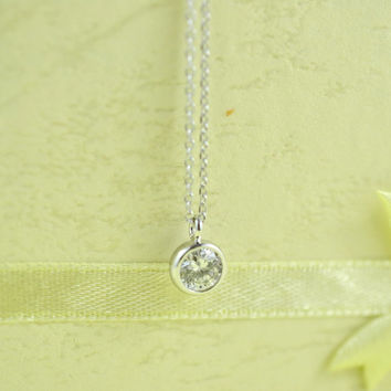 Mini Round CZ Necklace, Rhodium Plated Brass Pendant, Delicate Chain, Perfect Gift