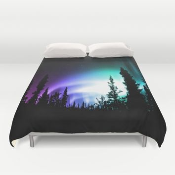 Aurora Borealis Forest Duvet Cover by 2sweet4words Designs