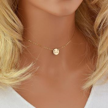 Choker Necklace, Name Necklace Disc, Engraved Necklace, Personalized Choker Necklace, Nameplate Disc Necklace Gold