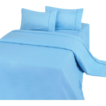 King Sheets in Blue Microfiber with 2 Pillowcases 1 Fitted and 1 Flat Sheet