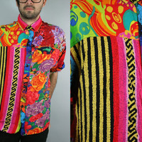 Abstract Tribal Floral Print Button Up Shirt