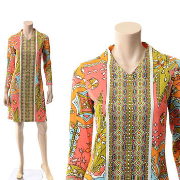 Vintage Op Art Mod Dress 60s 70s 1960s 1970s Psychedelic Carnaby Street Stained Glass Floral Twiggy Hippie Boho Sacony