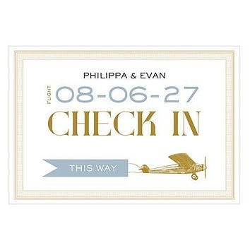 Vintage Travel Check In Directional Wedding Sign Daiquiri Green (Pack of 1)