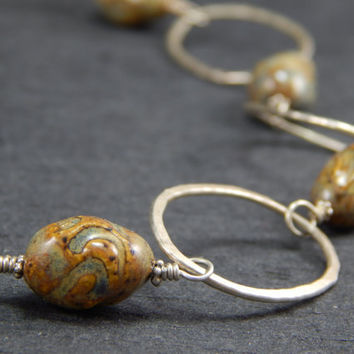 statement necklace, hand formed sterling silver circles, handmade ceramic beads