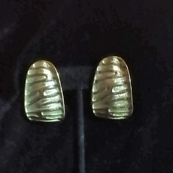 "Large Big Vintage Textured Engraved and Shiny Gold Tone ""J"" Shield  Clip On 1980's Glam All Occasion Fantastic Statement Fun Earrings"