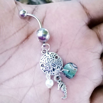 Sand dollar with cute tiny seahorse, fresh water pearl and abalone stone 14 gauge stainless steel belly navel ring, body jewelry, 14g