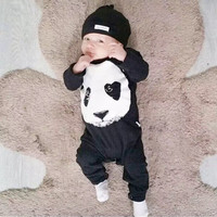 new 2017 autumn baby boy clothes  long sleeve panda pattern one piece baby rompers newborn infant girl clothing