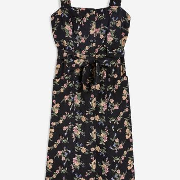 Linen Floral Pinafore Dress - Clothing