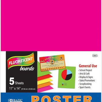 "BAZIC 11"""" X 14"""" Multi Color Fluorescent Poster Board (5/Pack) Case Pack 48"