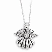 Sterling Silver Antiqued Angel Of Remembrance Necklace