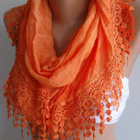 Orange  // Elegance  Shawl / Scarf with Lacy Edge-------soft and light