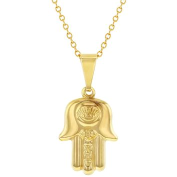 """18k Gold Plated Hamsa Hand of Fatima Evil Eye Protection Pendant Necklace 19"""""""