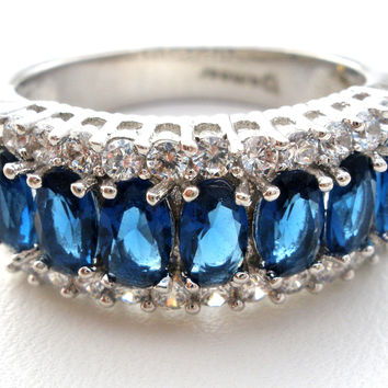 Sapphire & Clear Cubic Zirconia Ring by Bamoer
