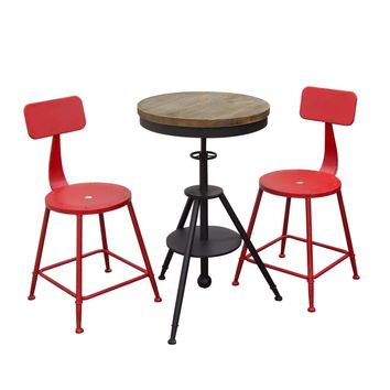Douglas 3PC Set Vintage Adjustable Height Bistro Table with Weathered Grey Top and Powder Coat Iron Base with 2-Pack Antique Red Stools