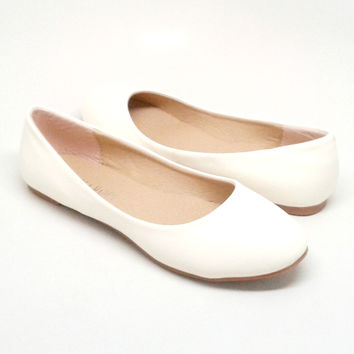Beige Vegan Leather Flats
