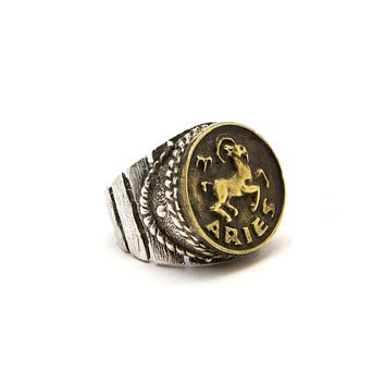 Aries Zodiac Astrology Brass Pendant Ring