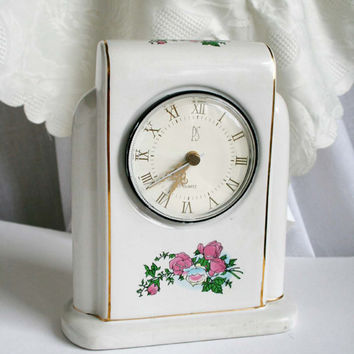 Limited Edition Shabby Roses Clock, Paul Sebastian PS Mantel Shelf Clock, Chabby Chic Clock.