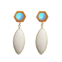 Golden Marquise Earrings (blue opal inlay)