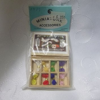 Vintage Miniature Yarn Knitting Set Wool Crochet Kit Box Crafting Dollhouse Needlework Shop Supplies Craft Boxed Set Deadstock New Old Stock