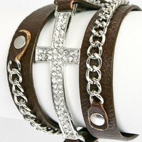 Pleather Bracelet With Crystallized Cross