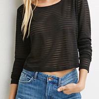Black Sheer Mesh Long Sleeve T-shirt