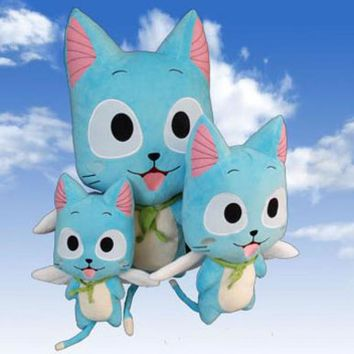 30-58cm Anime Fairy Tail Happy Plush Toy Kawaii Happy Blue Cat Stuffed Toys Doll Figure Toy For Kids Gifts Soft Toy For Girls