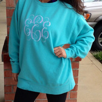 Monogrammed Comfort Color Crewneck Sweater / Sweatshirt-Full Front  Monogram