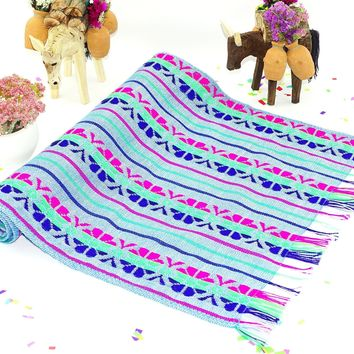 Bohemian chic, Mexican Table Runner 14x72 Inches, Tela Mexicana, Mexican Fiesta Party, Aztec Fabric. Wedding Decor