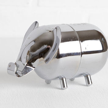 Vintage Silver Plated Elephant Piggy Bank, Elephant Bank Engraved with Tyler for Elephant Nursery or Coin Bank Collection
