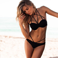 2016 New Arrival Bandage Bikini Set Sexy Swimsuit Push Up Biquini Padded Women Swimwear Beach Clothing #83082