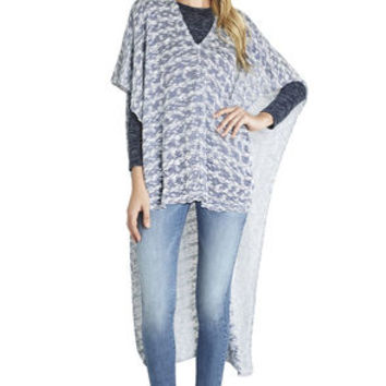 Kool Knit Wrap Poncho in Blue - BCBGeneration