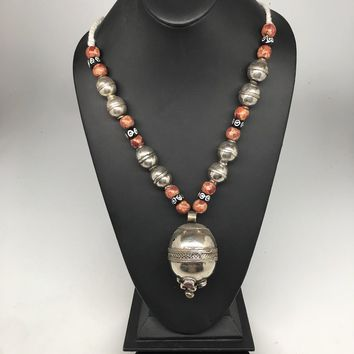 "123.9g, Double Round Metal Wood Beaded Turkmen Necklace @Afghanistan, 25"", TN160"