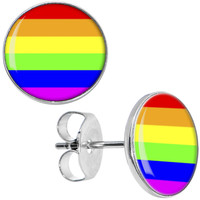 Rainbow Pride Stud Earrings | Body Candy Body Jewelry