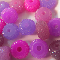 10 Glitter Rondelle Beads- 10x6mm- Acrylic Loose Beads- Shimmer