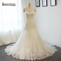 Shinny Heavy Beaded Wedding Dress A-line Real Photos wedding gown